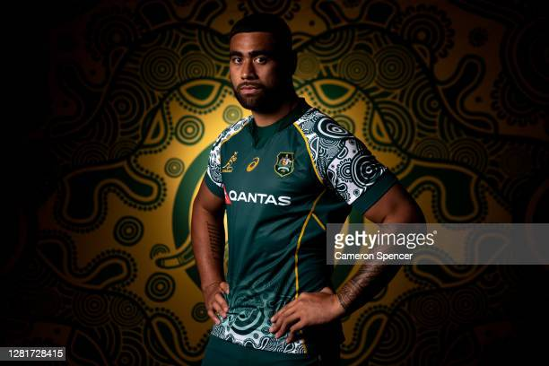 Lukhan SalakaiaLoto of the Wallabies poses during the Australian Wallabies 2020 First Nations Jersey portrait session on October 22 2020 in the...