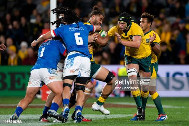 Lukhan SalakaiaLoto of the Wallabies tackled by TJ Ioane of Samoa during the international rugby test match between the Australian Wallabies and Manu...