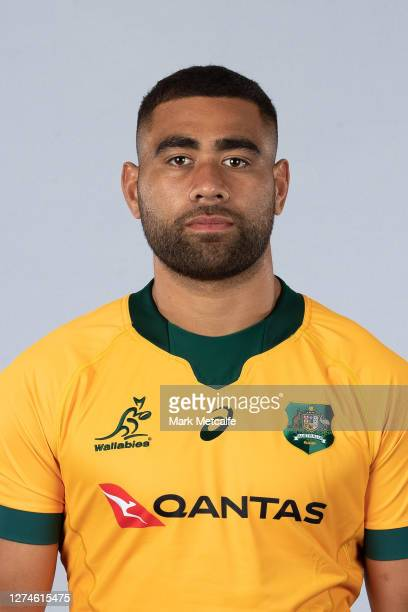 Lukhan SalakaiaLoto poses during the Australian Wallabies rugby team headshots session at the Crowne Plaza on September 21 2020 in the Hunter Valley...