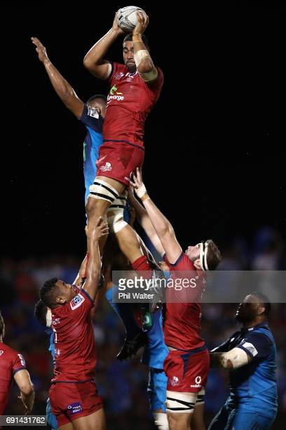 Lukhan Tui of the Reds takes the ball in the lineout during the round 15 Super Rugby match between the Blues and the Reds at Apia Park National...