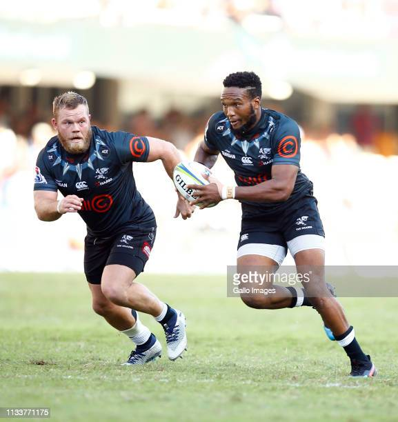 Lukhanyo Am of the Cell C Sharks on attack during the Super Rugby match between Cell C Sharks and Vodacom Bulls at Jonsson Kings Park on March 30...