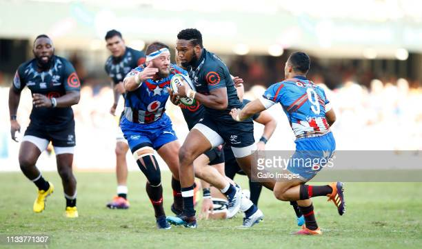 Lukhanyo Am of the Cell C Sharks on attack during the Super Rugby match between Cell C Sharks and Vodacom Bulls at Jonsson Kings Park on March 30,...