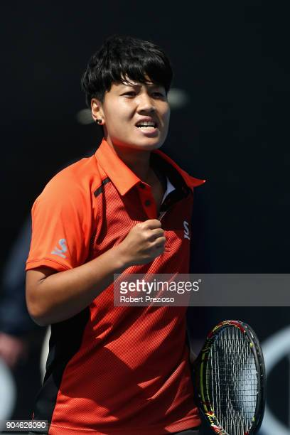 Luksika Kumkhum of Thailand celebrates a win as she competes in her third round match against Sara Errani of Italy during 2018 Australian Open...