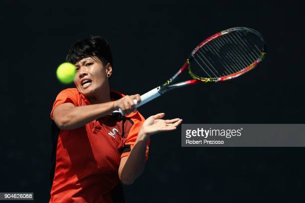 Luksika Kumkhum of Thailand competes in her third round match against Sara Errani of Italy during 2018 Australian Open Qualifying at Melbourne Park...