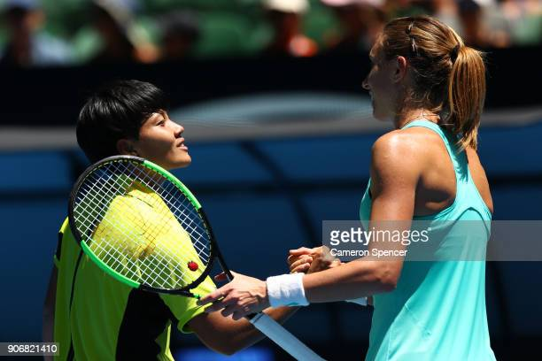 Luksika Kumkhum of Thailand congratulates Petra Martic of Croatia after Martic won their third round match on day five of the 2018 Australian Open at...