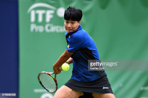 Luksika Kumkhum of Thailand in action in the Womens Doubles Final during Finals Day of the Fuzion 100 Manchester Trophy at The Northern Lawn Tennis...