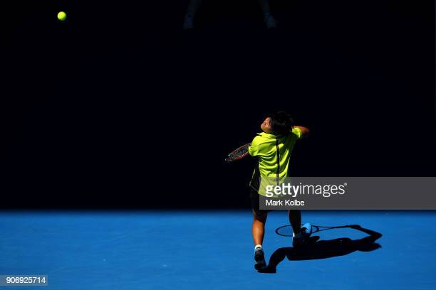 Luksika Kumkhum of Thailand plays a forehand in her third round match against Petra Martic of Croatia on day five of the 2018 Australian Open at...
