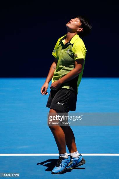 Luksika Kumkhum of Thailand reacts after losing match point in her third round match against Petra Martic of Croatia on day five of the 2018...