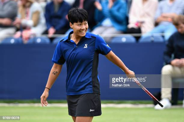 Luksika Kumkhum of Thailand reacts in the Womens Doubles Final during Finals Day of the Fuzion 100 Manchester Trophy at The Northern Lawn Tennis Club...