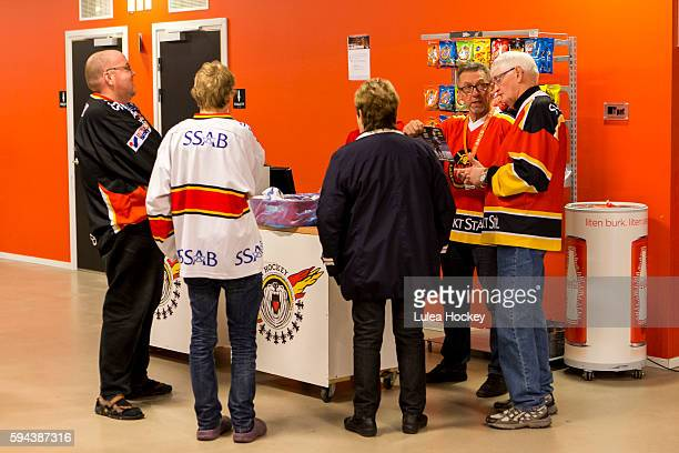 Lulea HF fans before game during the Champions Hockey League match between Lulea Hockey and SaiPa Lappeenranta at Coop Norrbotten Arena on August 23,...