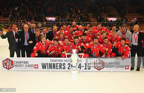 Lulea Hockey players celebrate victory with the trophy after the Champions Hockey League Final match between Lulea Hockey and Frolunda Gothenburg at...