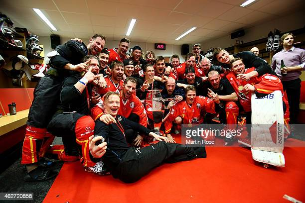 Lulea Hockey players celebrate victory with the trophy after the Champions Hockey League final match at Coop Norrbotten Arena on February 3 2015 in...