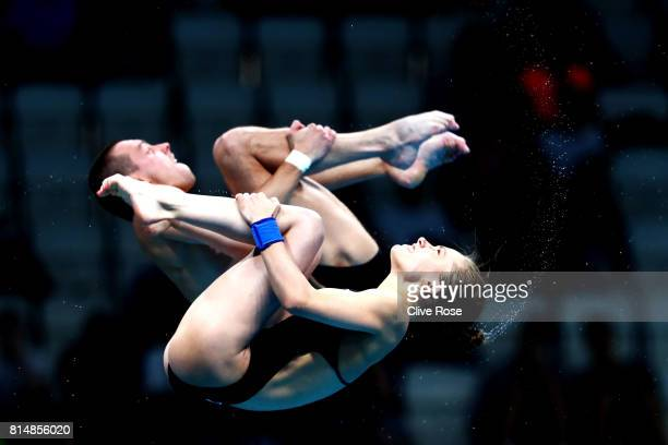 Luliia Timoshinina and Viktor Minibaev of Russia competes during the Mixed Diving 10m Synchro Platform Final on day two of the Budapest 2017 FINA...