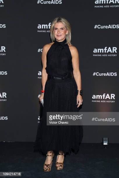 Lulu Creel poses during the amfAR gala dinner at the house of collector and museum patron Eugenio López on February 5 2019 in Mexico City Mexico