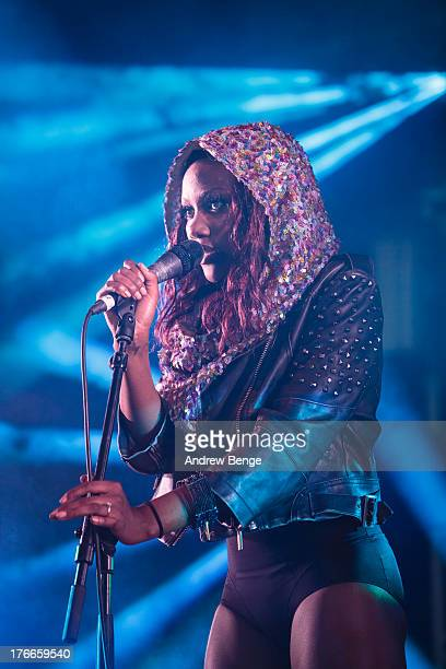 Lulu James performs on stage on Day 1 of Beacons Festival at Heslaker Farm on August 16 2013 in Skipton England