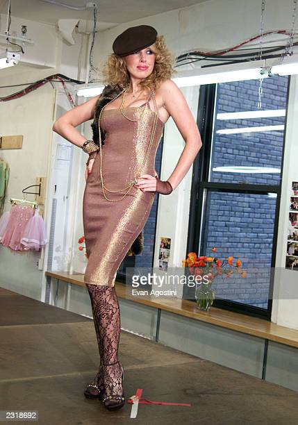 Lulu Johnson walks the runway at the Betsey Johnson Fall 2002 fashion show at Betsey Johnson's offices during MercedesBenz Fashion Week in New York...