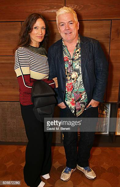Lulu Kennedy and Tim Blanks attend the BFC Fashion Trust x Farfetch cocktail reception on April 28, 2016 in London, England.