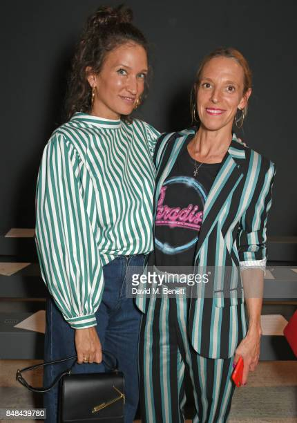 Lulu Kennedy and Tiphaine de Lussy attend Topshop's London Fashion Week show on September 17, 2017 in London, England.