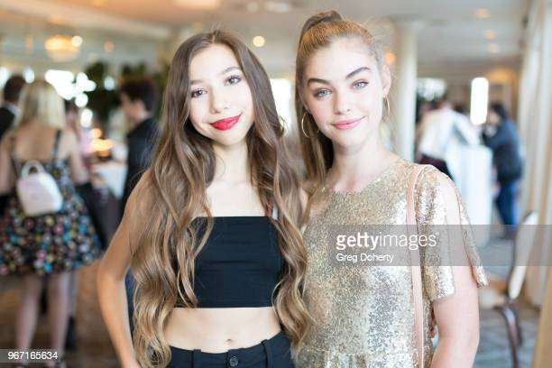 Lulu Lambros and Jade Weber attend the Bianca And Chiara D'Ambrosio Celebrate Their 13th Birthday Party at The Beverly Hilton Hotel on June 3 2018 in...