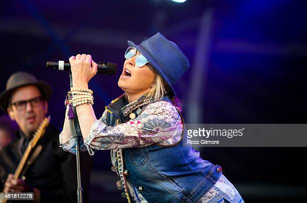 Lulu performs at the Wickerman festival at Dundrennan on July 24 2015 in Dumfries Scotland