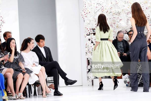 Lulu Tan and Zun Wu attend the Christian Dior show as part of Paris Fashion Week Haute Couture Fall/Winter 20142015 Held at Musee Rodin on July 7...