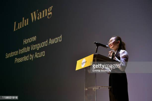 Lulu Wang accepts the Vanguard Award onstage during The Farewell LA premiere presented by Sundance Institute and hosted by Acura at The Theatre at...