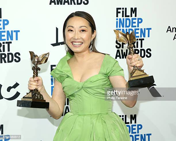 Lulu Wang poses in the press room with the Best Feature award for the film The Farewell during the 2020 Film Independent Spirit Awards on February 08...