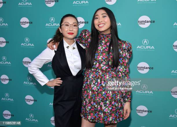 Lulu Wang recipient of the Vanguard Award and Awkwafina attend The Farewell LA premiere presented by Sundance Institute and hosted by Acura at The...