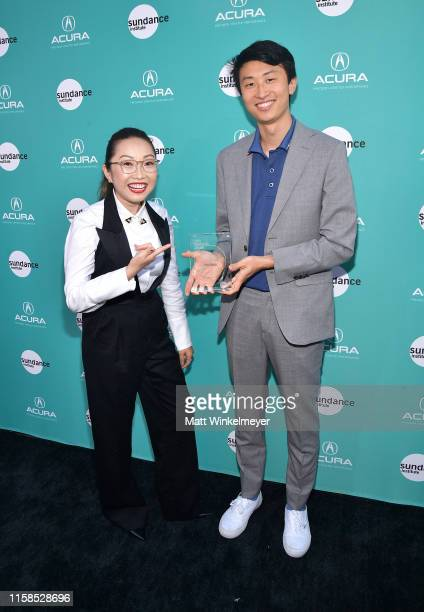 Lulu Wang recipient of the Vanguard Award and Bing Liu attend The Farewell LA premiere presented by Sundance Institute and hosted by Acura at The...