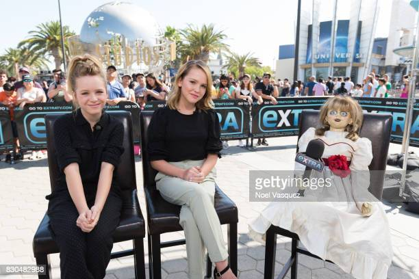 Lulu Wilson Talitha Bateman and the doll from the film Annabelle visit Extra at Universal Studios Hollywood on August 11 2017 in Universal City...