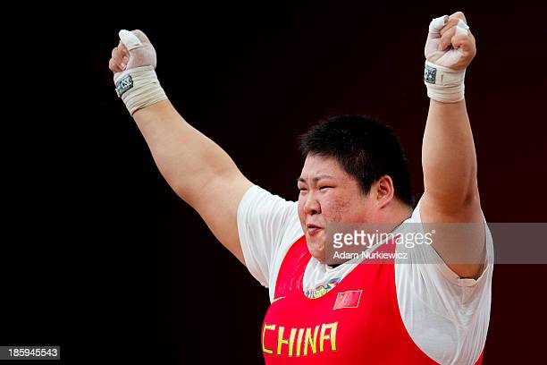 Lulu Zhou from China reacts after her good attempt in the Snatch competition women's 75 kg Group A during weightlifting IWF World Championships...