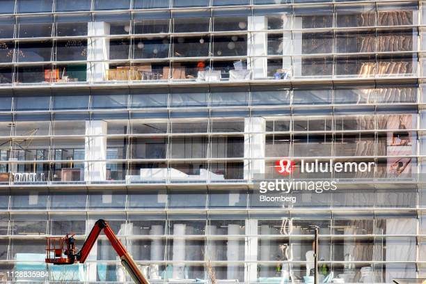 Lululemon Athletica Inc signage is displayed at the Hudson Yards development in New York US on Tuesday March 5 2019 Driving the $25 billion...