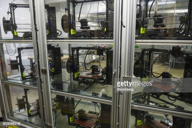 LulzBot 3D printers sit on display at the Aleph Objects Inc facility in Loveland Colorado US on Wednesday March 14 2018 Aleph Objects Inc develops...