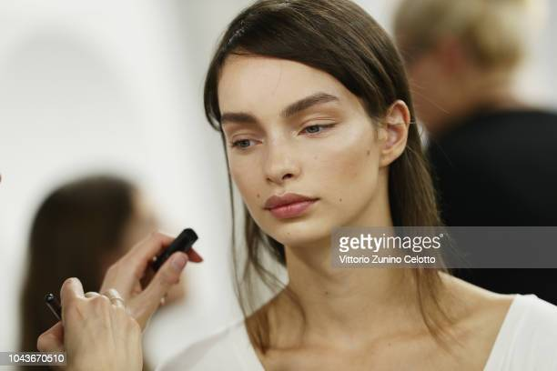 Luma Grothe prepares backstage during Le Defile L'Oreal Paris as part of Paris Fashion Week Womenswear Spring/Summer 2019 on September 30 2018 in...