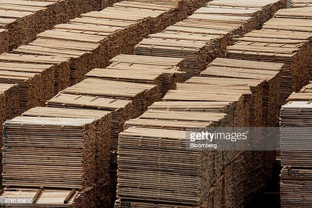 Lumber ready for shipping sits stacked at the West Fraser Timber Co sawmill in Quesnel British Columbia Canada on Friday June 5 2015 Since the late...