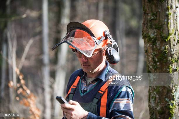 Lumberjack on the phone