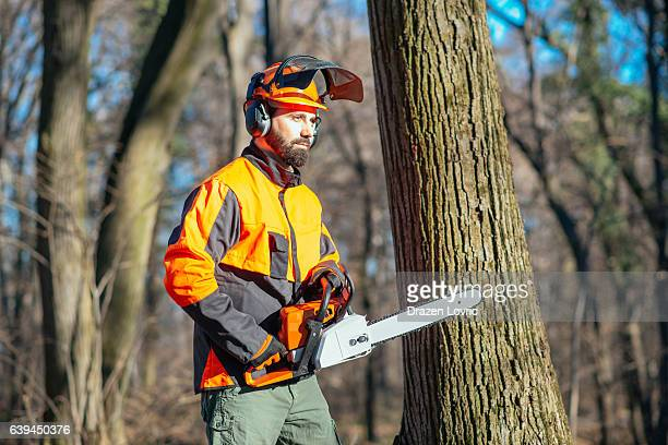 Lumberjack with chainsaw in forest, deforestation process
