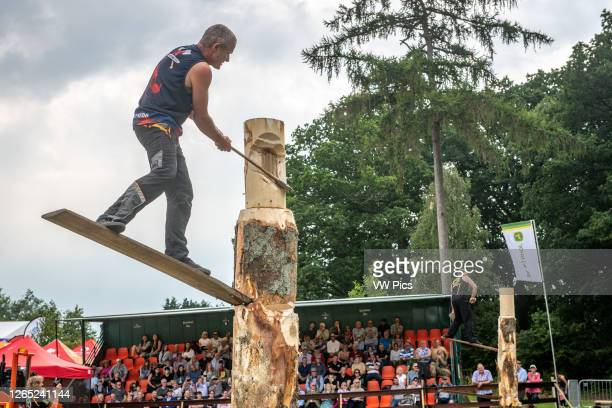 Lumberjacks compete in strength and talent tests at the Great Yorkshire Show, Harrogate, Yorkshire, UK.