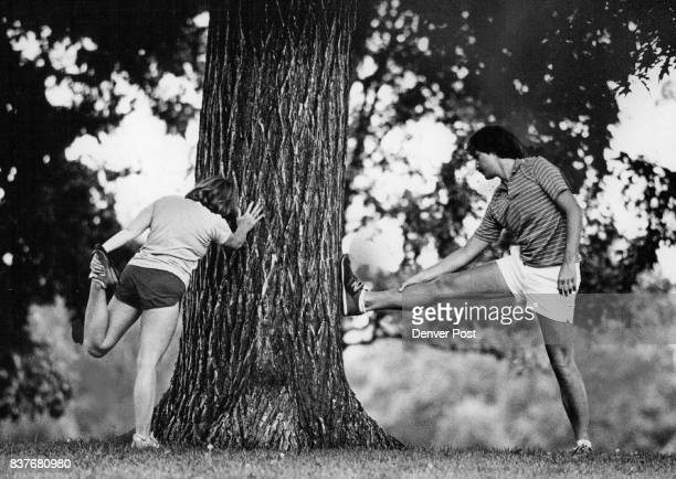Lumberjacks They're Not Aurora residents Dee Dee Stevens and Mark Schafer are just using an old oak tree at Washington Park to stretch Thursday...