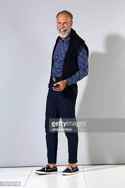Lumbersexual  Bearded  Senior men hipster  portrait