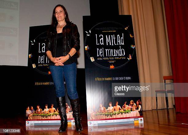 Lumi Cavazos poses for photos during the press conference of the movie La Mitad Del Mundo at Cineteca Nacional on January 17 2011 in Mexico City...