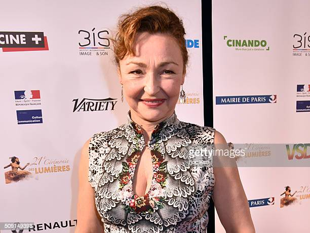 Lumieres 2016 awarded actress Catherine Frot attends 'Les Lumieres 2016' Arrivals At Espace Pierre Cardin on February 8 2016 in Paris France