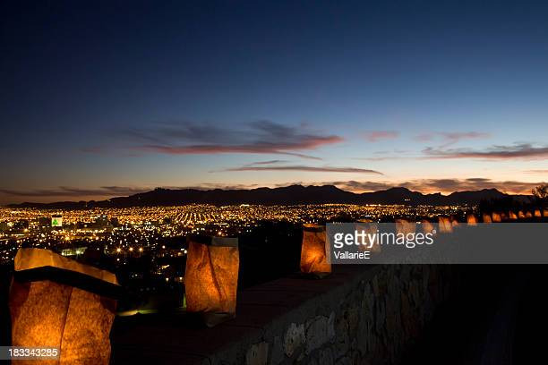 luminarias overlooking el paso and juarez - mexican christmas stock photos and pictures