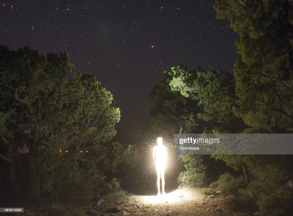 luminosity figure at night : Stock Photo