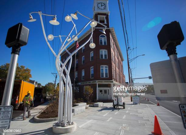 'Luminous Arbor' a street light sculpture by Portland artist Aaron Stephan is installed at Woodfords Corner on Monday Oct 22 2018