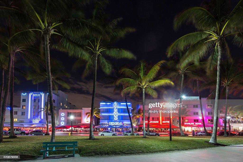 Lummus Park At Night Miami Beach Florida Stock Foto