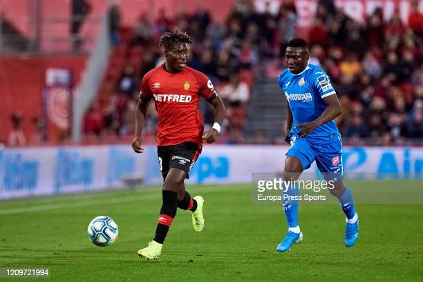 Lumor Agbenyenu of RCD Mallorca with the ball during the Spanish League, La Liga, football match played between RCD Mallorca and Getafe CD at Son...