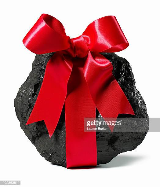Lump of Coal With Red Ribbon Bow