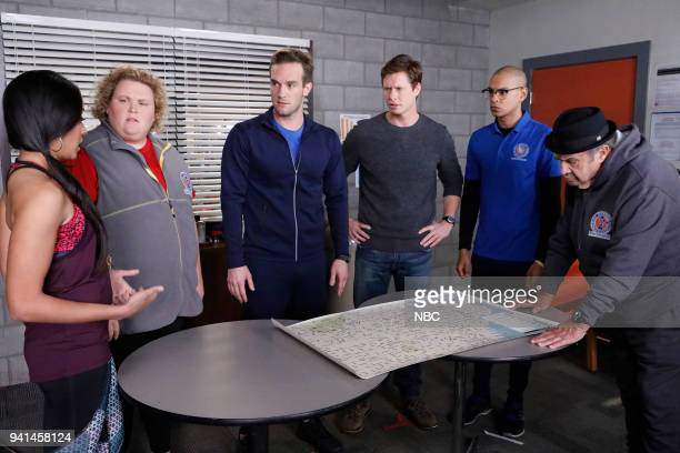 CHAMPIONS 'Lumps' Episode 104 Pictured Mouzam Makkar as Brittany Fortune Feimster as Ruby Andy Favreau as Matthew Anders Holm as Vince Yassir Lester...