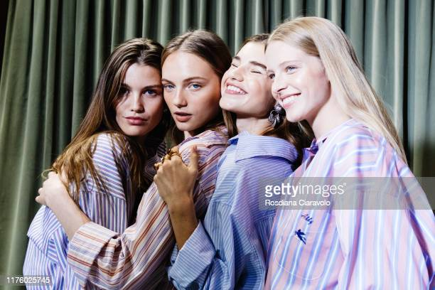 Lun Bijl, Fran Summers, Megan Roche and Deirdre Firinne are seen at backstage for Etro fashion show during the Milan Fashion Week Spring/Summer 2020...